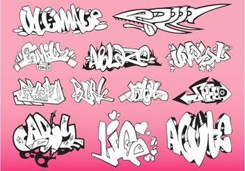 Graffiti Pieces Pack - бесплатный vector #158407