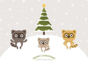 Free Cartoon Raccoons Christmas Vector Background - vector #158427 gratis
