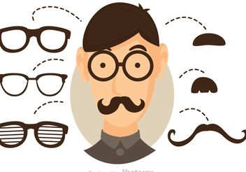 Vector Cool Dude With Glasses And Mustache - Free vector #158477