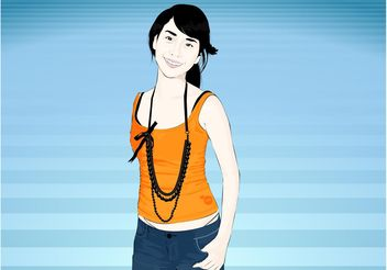 Asian Girl Vector - Free vector #158547