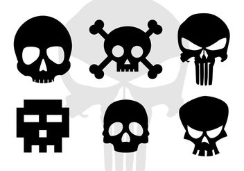 Skull Vector Cartoonish Skull Silhouettes - Free vector #158657