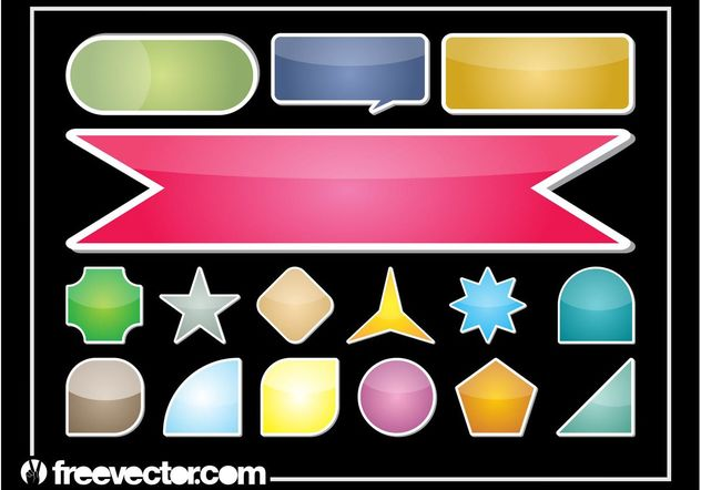 Colorful Sticker Set - Free vector #159127