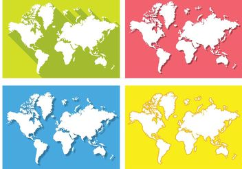 Flat World Map Vectors - vector gratuit #159547
