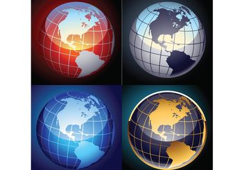 Free set of vector globes - vector gratuit #159607