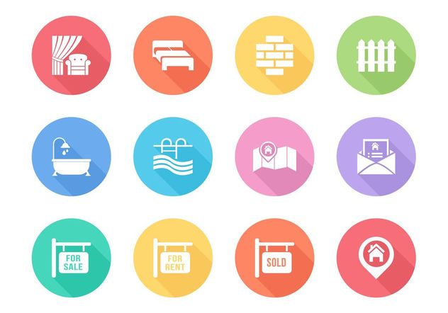 Free Flat Real Estate Vector Icons - vector gratuit #159677