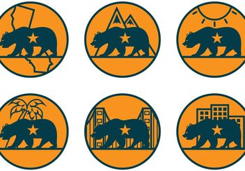 California Bear Vector Icons - бесплатный vector #159927