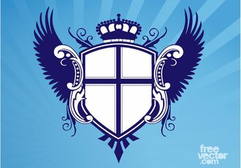 Shield With Wings And Crown - Free vector #160017