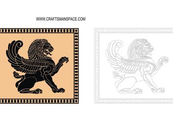 Ancient Lion Shield - Free vector #160157