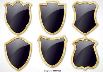 Black and Gold Vector Shield Set - Free vector #160177