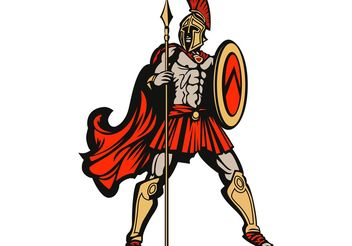 Free Vector Spartan with Spear and Shield - Kostenloses vector #160257