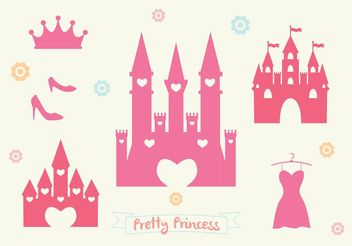Pink Princess Castle Vector Set - vector gratuit #160577