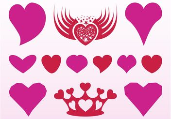 Romantic Hearts Designs - Free vector #160587
