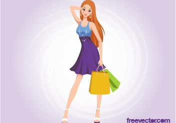 Shopping Girl Vector - vector gratuit #160667