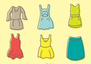 Cartoon Dresses Vectors Pack - Free vector #160697