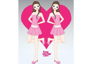 Pink Girl - Free vector #160877