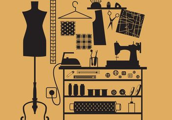 Sewing and Tailor Vector Symbols - vector #160907 gratis