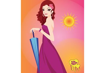 Umbrella Girl - vector gratuit #161237