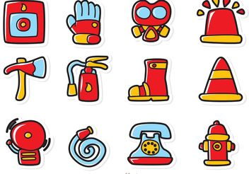 Cartoon Fireman Icons Vector Pack - бесплатный vector #161417