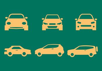 Car Front and Side View Silhouettes - Free vector #161447