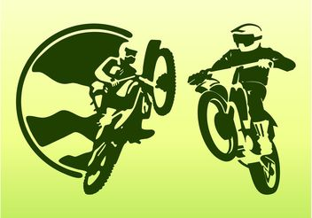 Off Road Bikers Silhouettes - Free vector #161767
