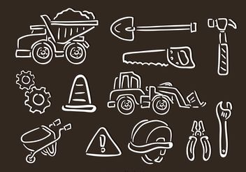 Contruction Chalk Drawn Vector Icons - vector gratuit #161967