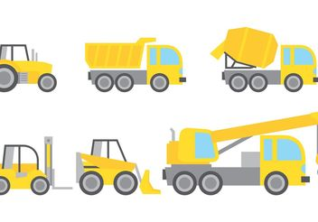 Construction Vehicles Vectors - vector gratuit #161997