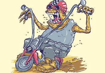 Monster On Bike - Free vector #162297