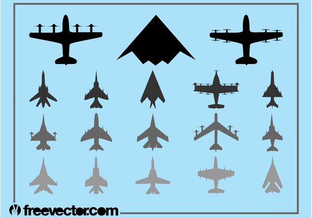 Military Airplanes Set - Free vector #162397