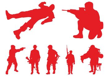 Soldiers Silhouettes Graphics - Free vector #162517