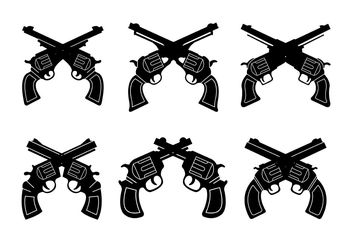 Collection of Vintage Gun Shapes - бесплатный vector #162537