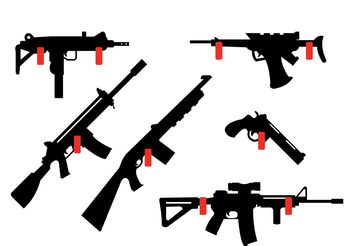 Collection of Rifles and Guns Hanging on the wall - vector gratuit #162557