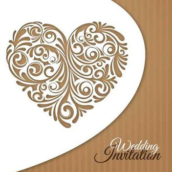Creative Floral Heart Wedding Invitation - Kostenloses vector #162667