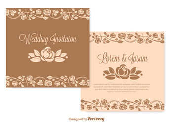 Vintage Flouring Wedding Invitation - vector gratuit #162707