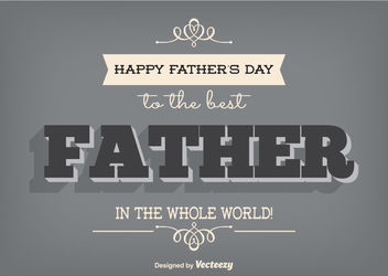 Father's Day Retro Decorative Card - Free vector #162717