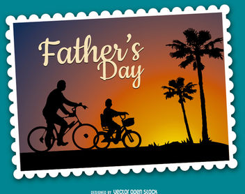 Father's Day bike ride sunset - vector gratuit #162777