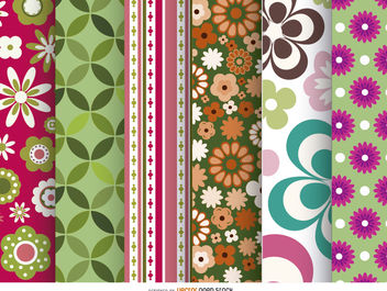 6 beautiful Floral Patterns - бесплатный vector #162827