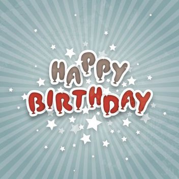 Happy Birthday Typography Sunbeam Background - бесплатный vector #162907