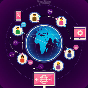 Modern Worldwide Communication Infographic - Free vector #162957
