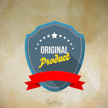 Vintage Shield Sticker with Ribbon - vector gratuit #162997