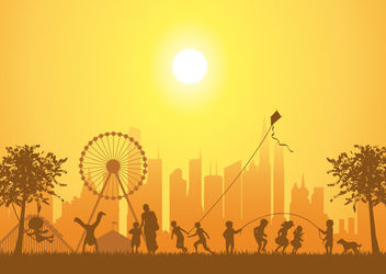 Outdoor Park Kids Playing Silhouette - vector gratuit #163057