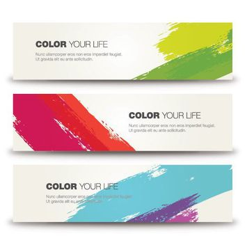 3 Colorful Paint Swatch Banners - vector gratuit #163087