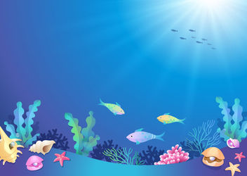 Beautiful Underwater World Cartoon - бесплатный vector #163117