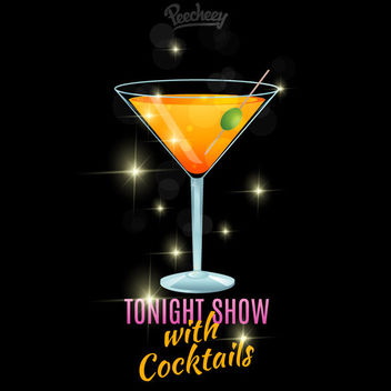 Cocktail Glass Night Show Poster - бесплатный vector #163147