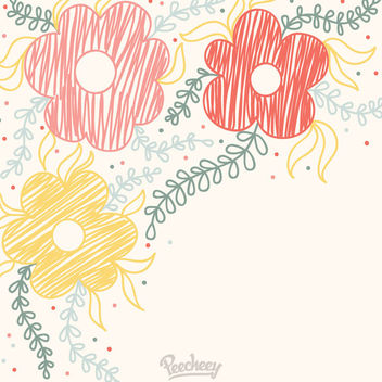 Funky Hand Drawn Floral Background - vector gratuit #163177