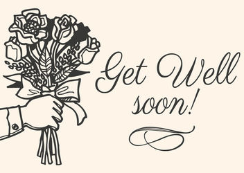 Get Well Soon Hand Drawn Card - vector #163217 gratis