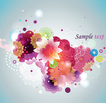 Colorful Abstract Splashed Floral Background - vector gratuit #163267