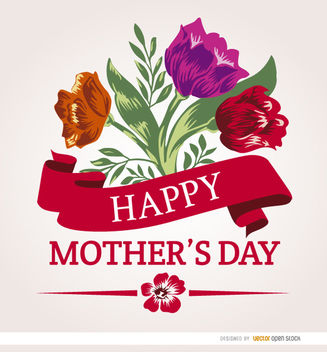 Mother's Day ribbon flowers - бесплатный vector #163277