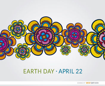Earth Day colorful flowers wallpaper - Free vector #163317