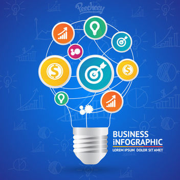 Idea Bulb Shaped Business Infographic - vector gratuit #163327