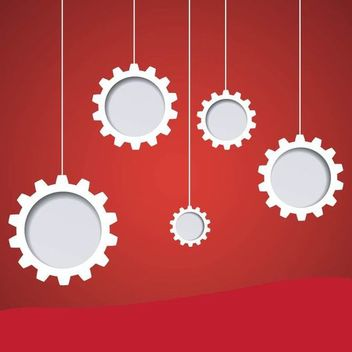Hanging Gears on Red Background - vector gratuit #163477